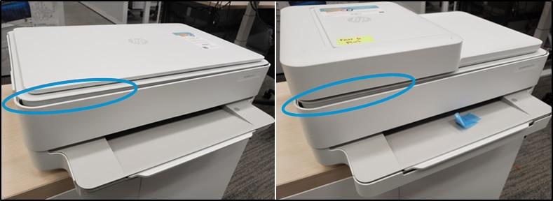 Przykład nieprawidłowo zamkniętej pokrywy z powodu nieprawidłowego włożenia pokrywy ścieżki papieru