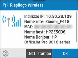 Esempio di schermata Riepilogo wireless