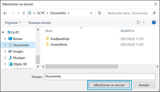 Options de sélection des lecteurs et dossiers dans le Centre de sécurité Windows