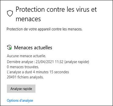 Écran de protection contre le virus et les menaces avec des options d'analyse