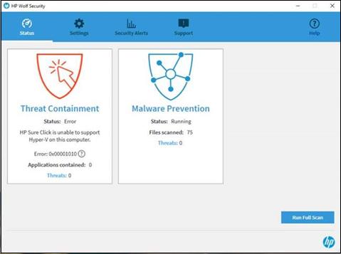 ข้อผิดพลาด Threat Containment (การจำกัดพื้นที่ภัยคุกคาม) ของ HP Wolf Security สําหรับ Hyper-V