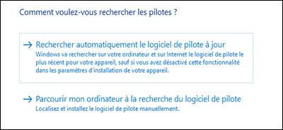 Sélection de Rechercher automatiquement les pilotes