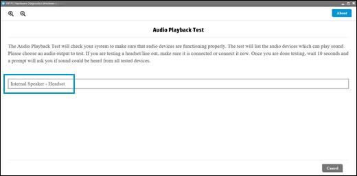 Sélection d'un périphérique de sortie audio à tester