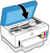 Zavření přístupových dvířek inkoustové kazety
