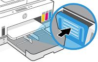 Přidržení tlačítka na jednom vodítku šířky papíru