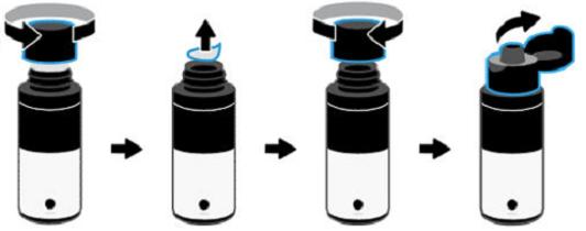Otevření lahvičky sinkoustem sodklápěcím víčkem