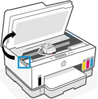 Zvednutí přístupových dvířek inkoustové kazety