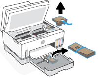Retirar la cinta y el material de embalaje del área de acceso a la tinta y otras áreas