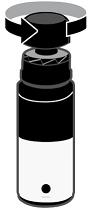 Apertura de un frasco de tinta con la tapa de rosca