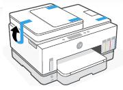 Usuwanie taśmy z zewnętrznej części drukarki