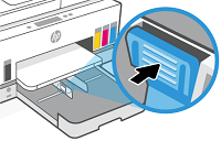 Holding the button on one paper-width guide