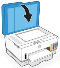 Closing the scanner lid