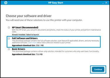 Clic sur Version complète des logiciels et pilotes et clic sur Continuer