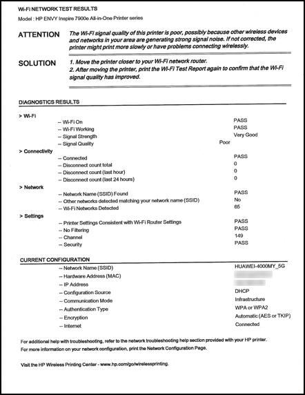 Exemple de première page du rapport de résultats du test de réseau Wi-Fi