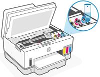 Preenchendo os tanques de tinta