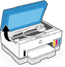 Compuerta de acceso a la tinta abierta