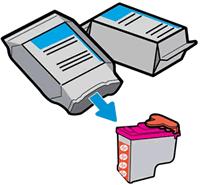 Az új nyomtatófej kivevése a csomagolásából