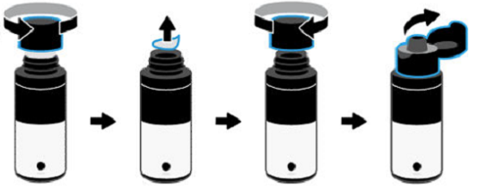 Apertura de un frasco de tinta con tapa abatible