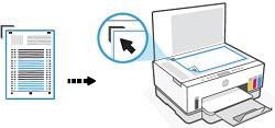 Colocación de la página de alineación en el cristal del escáner