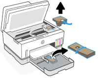 Ta bort tejpen och förpackningsmaterialet från bläckåtkomstområdet och andra områden