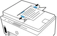Paperin asettaminen automaattiseen asiakirjansyöttölaitteeseen ja paperinohjainten siirtäminen