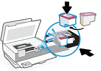 Sliding the ink cartridge into place