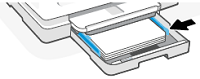 Adjusting the paper-width guides until they touch the edges of the stack of paper