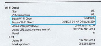 Miejsce występowania sekcji Wi-Fi Direct w raporcie konfiguracji sieci