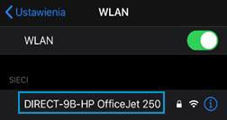 Wybór nazwy drukarki Wi-Fi Direct z listy
