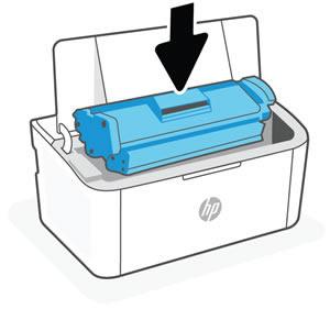 Alinhando o cartucho de impressão com as trilhas dentro da impressora