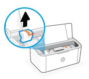 Ta bort förpackningsmaterialet från skrivarens insida