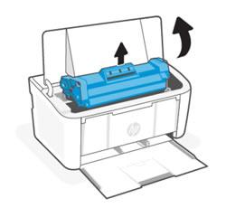 Ouverture de la porte d'accès aux cartouches d'impression et retrait de la cartouche de toner.