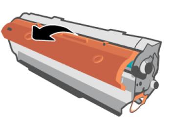 Entfernen der orangefarbenen Abdeckung von der Tonerpatrone